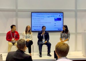 Read more about the article On Oct 3rd, 2017, Dr. Drew Wang (in red) served as one of the two univeristy-utility partnership presenters in WEFTEC 2017 conference at Chicago to introduce the valuable experience earned from the establishment of a Virginia Tech Center for Applied Water Research and Innovation (VT-CAWRI) together with Dr. Jason He