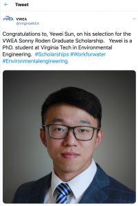 July 19 Yewei Sun won VWEA Sonny Roden Graduate Scholarship