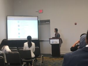 Read more about the article Yewei (left) and Dian (right) oral presented their research about aerobic granulation and phosphorus removal  in 2018 ASABE conference at Detroit, Michigan on July 29- Aug 1